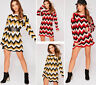 New Ladies Womens Long Sleeve Stripe Zig Zag Chevron Knitted Mini Jumper Dress