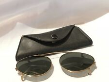 Vintage Mens Gold Rim Aviator Titmus Clip on Sunglasses