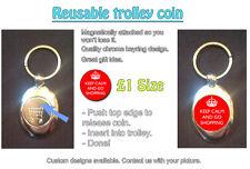 Keep Calm And Go Shopping - REUSABLE £1 SHOPPING TROLLEY TOKEN - Gift Idea