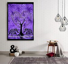 Indian Wall Hanging Purple Tree Of Life Elephant Tapestry Heart Dorm Decor Gypsy