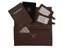 Personalised Monogrammed Genuine Leather Passport Travel Wallet 4pcs Set D Brown