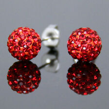 12 Colors 6mm 8mm 10mm Sparkle Round Crystal Disco Ball CZ Beads Stud Earrings