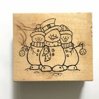 Great Impressions FROSTY FRIENDS Rubber Stamp Three Snowmen Winter Holiday Wood