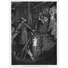 NATIVI AMERICANI INDIANI baratto nei paesi occidentali-antica stampa 1871