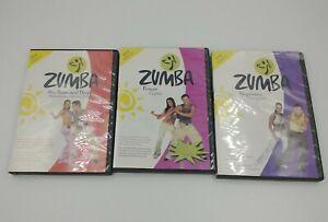 Lot 3 Zumba DVDs Beginners, Power, Abs Buns & Thighs