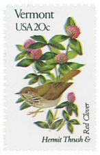 1982 20c State Birds & Flowers, Vermont, Thrush & Red Clover Scott 1997 Mint NH