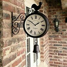 Outdoor Garden Station Double Sided Wall Clock - Cockerel and Bell 20 cm Bracket