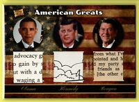 2020 Pieces of the Past ** REAGAN, KENNEDY, OBAMA ** TRIPLE PIECES RELICS ~~~R