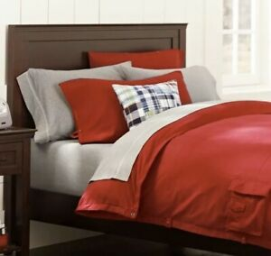 Pottery Barn Kids Full/queen Size Duvet Cover Red Organic Cotton Cargo Pockets