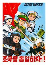 "North KOREA Propaganda Poster Print PEOPLE AND ARMY AGAINST USA & Japan 18x24"""