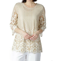 NEW Isaac Mizrahi Live! 3/4 Sleeve Beige Lace Lined Tunic Top Size Medium 1S