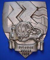 1985 Great Western Railway (GWR) cast aluminium plaque 150yrs Swindon *[18005]