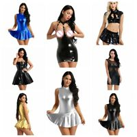 Women Wet Look Dance Dress Slim Party Bodycon Clubwear Lace Splice Daily Wear