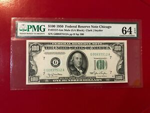$100 1950 FEDERAL RESERVE NOTE CHICAGO FR#2157 GM MULE CLARK SNYDER PMG 64 EPQ