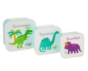 Set Of 3 Dinosaur Themed Lunch Boxes By Sass & Belle, Snack Picnic Lidded Pots!