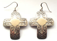 Beautiful 925 Solid Sterling Silver Large Etched Cross Drop Ear Rings Dangle