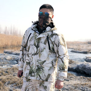 Winter Snow Field Camouflage Clothing Fleece Jacket Trousers Fishing Hunting