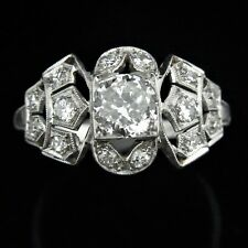 Art Deco Diamond Platinum Engagement Ring Antique Vintage Transitional Cut 1930s
