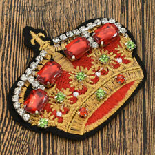 Red Crystal Crown Patch Applique Iron On Gum Garment Bag Accessories DIY Craft