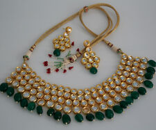 GREEN BEADS KUNDAN LAYERED BOLLYWOOD CHOKER NECKLACE JEWELRY WITH EARRING
