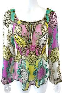 YOANA BARASCHI Anthropologie Modern Rococo Peasant Tunic Top Blouse Silk S