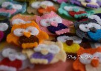 Felt Owls!  8 Mini Die Cut Craft Embellishments