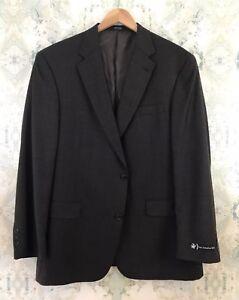 NWT Hart Schaffner Marx Brown Wool Windowpane Career Plaid Blazer Jacket 45R