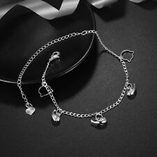Foot Chain Charm Ankle Bracelet #Ab09 Womens 925 Sterling Silver Whale Fish