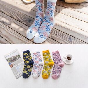 Fashion Ladys Womens Cotton Crew Socks Funny Flowe Pattern Casual Dress Socks