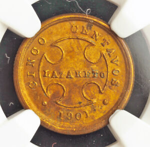 1901, Colombia(Republic). Brass 5 Centavos Coin. Leprosarium Coinage! NGC MS61!