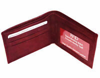 RFID Blocking Mens Card ID Credit Genuine Leather Bifold Wallet Front Pocket Red