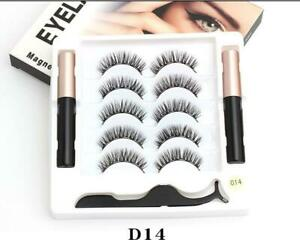 5 Pairs Magnetic Eyelashes Extension lashes Kit with 1 Tweezer and 2 eyeliners