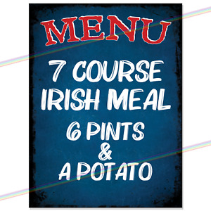 IRISH MEAL MENU Retro Tin Sign Man Cave Metal Kitchen Gift Funny Pub Bar Home UK