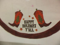 """NEW- 48"""" Happy Holidays Y'All Tree Skirt-Cowboy Boots & Stars-Western"""
