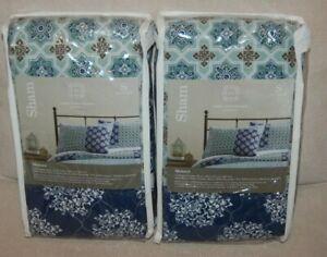 "2 New JCP Home Expressions Monaco Standard Pillow Sham 20""x26"" Blue PAIR"