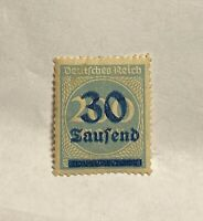 Rare German Stamp Deutsches Reich Blue 30 Tausend Overprint 200 Mark