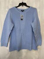 Karen Scott Women's Plus Size 0X Blue sweater cable knit oversized chunky NWT