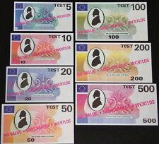 Testbiljetten De La Rue cash systems test note 5, 10, 20, 50, 100, 200 & 500