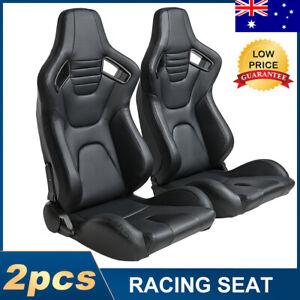 2pcs PU Leather RACING SPORT SEATS CAR SEATS Highback Bucket Adjustable Black
