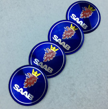 "4x56MM 2.2"" Aluminum Blue Logo Emblem Wheel Rim Center Hub Cap Stickers fit SAAB"