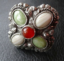 vintage rare signed MIRACLE multi colour glass agate flower scarf ring -D259