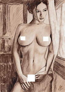 Original sketch on paper - Nudes - Female figure drawing - A4