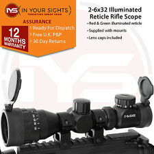 Air gun 2-6x32 Rifle scope / Adjustable objective lens scope +mounts +lens caps