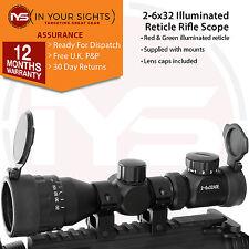 AIR GUN 2-6X32 Cannocchiale da puntamento tramite / REGOLABILI dell' obiettivo Lens portata + MOUNTS + COPERCHI per lenti