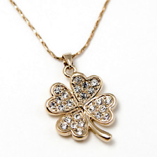 ~FOUR-LEAF CLOVER~ Pendant Necklace with Genuine Clear Swarovski Crystals