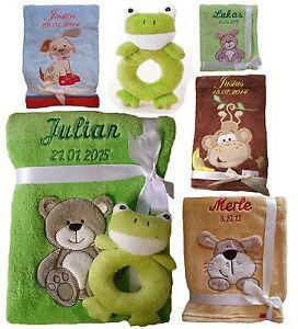 Babydecke mit Namen bestickt +Spielzeug Rassel Frosch Geschenk Geburt Taufe Baby
