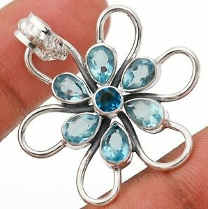 """Aquamarine 925 Solid Sterling Silver Pendant Jewelry 1 1/3"""" Long K2-4"""