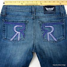 Rock and Republic Womens 26 Blue Denim Jeans 30X35 Purple Rhinestones Lavender