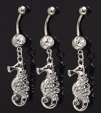 1) Single Fancy Sea Horse Gem Dangle Belly Ring 14g Gemstone CZ Navel 889 Animal