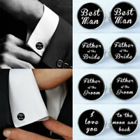 Men Wedding Formal Party Suit Shirt Cufflinks Cuff Link Best Man Groom Usher